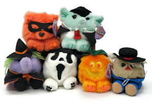 Puffkins 1994 Plush Halloween Lot of 6 Count Witch Pumpkin Trick Screech Patches