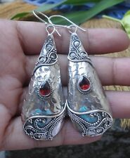 925 Sterling Silver-LH166-Balinese Handcrafted Earring Long Dangle Garnet