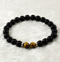 Men's 8mm Black Matte&Tiger Eye Round Beads Stretch Bracelet Fashion Jewelry 7.5
