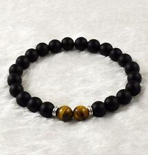 Men's 8mm Black Matte&Tiger Eye Round Beads Stretch Bracelet Fashion Jewelry 7.5