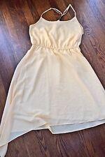 BCBG Womens yellow asymmetrical hem line spaghetti strap dress size M