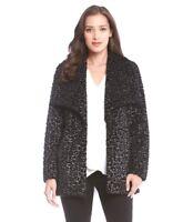 Karen Kane New Black Metallic Animal Print Faux Fur Jacket / Coat Sizes M L XL