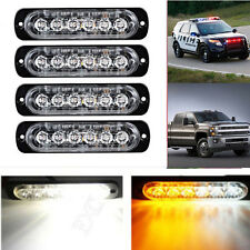 4 x Amber Cree 6 LED Recovery Strobe Flashing Light Breakdown Lamp Grill 12V/24V