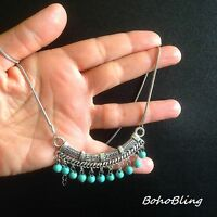 Bohemian Necklace Silver Turquoise Hippie Ethnic Boho Tribal N1051