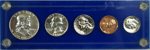 1956 US Year Proof Set with Silver Type 1 Half Dollar, 5 Coins Total