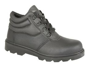 Mens Grafters Black Leather Steel Toe Cap Chukka Style Safety Boots PPE Size 9