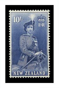 New Zealand 1954 Queen Elizabeth QEII 10/- Ultramarine Stamp SG736 Fresh MUH 7-6