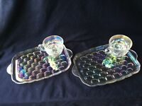 2 Federal Iridescent Glass Yorktown Thumbprint Sip & Snack Plate & Cup Set