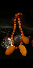 Old vintage natural amber beads antique adornment yolk Baltic 19.8g necklace