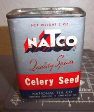 Vintage Natco whole CELERY SEED 2 oz Spice tin, National Tea Company