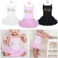 Toddler Baby Girl 1st Birthday Outfit Princess Tutu Skirt Dress Romper &Headband