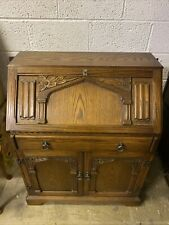 More details for vintage carved oak writing bureau with leather top