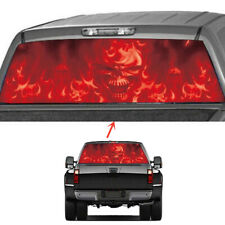 "53""x14"" Red Flame Skull Fire Gohst Pickup Truck Rear Window Tint Film Decal Wrap"