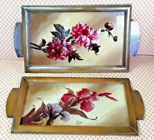 Vintage Pair Of Trays Wooden Glass Eglomise Pattern Flowers 1950
