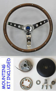 "NEW 1970's Dodge Dart Charger Demon Wood Steering Wheel walnut 13 1/2"" Mopar Cap"