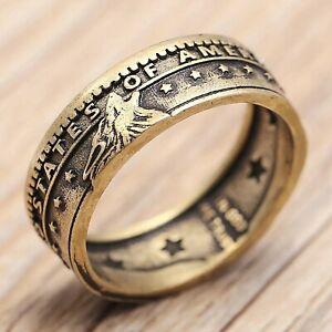 2020 Hit Vintage Coin Ring Stars wolf Handmade Antique bronze Morgan Flower Ring