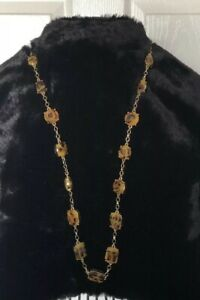 Kate Spade Swirl Around Long Tortoise Shell Color Necklace Gold Tone! Stunning!