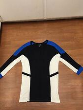 Allen B by Allen Schwartz trendy black, ivory, blue tunic size M leggings