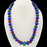 836.00 CTS EARTH MINED RUBY, EMERALD & SAPPHIRE ROUND SHAPE BEADS NECKLACE (RS)