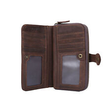 Genuine Leather Boy's Mens Wallet Zip Around ID Credit Card Purse Holder Case