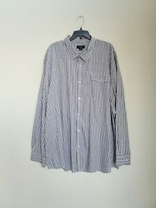 ATTENTION mens plus size gray black Striped button up dress shirt size 4XL