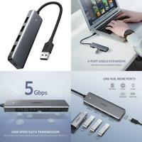 4 Port USB 3.0 Hub Ultra Slim High Speed USB Data Hub For Laptop PC Desktop To C