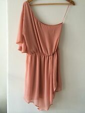 Topshop Blush Pink One Shoulder Frill Dress 10