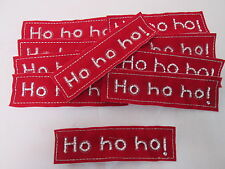 Set of 10 Handmade Christmas Card Embroidered Red HO HO HO Patches Badges #29E67