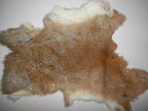 "Soft Natural Tanned Rabbit Fur Pelt Hide  7""x12""      #7365"