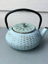 Vntg, Tetsubin Cast Iron Japanese Tea Pot W/ Infuser Blue & Gold And Tea Holder