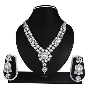 Indian Bollywood Fashion Ethnic Silver Plated Womans Kundan Jewelry Necklace Set