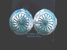 Taos Pueblo N.M. Silver stamped Half dollar w/Turquoise  Concha Earrings 1970's
