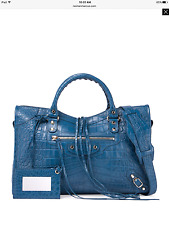 NWT Balenciaga $2150 Classic City Croc-Embossed Leather Tote Shoulder Bag, Blue
