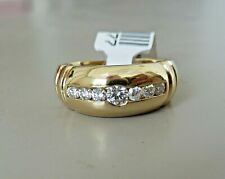14K YELLOW GOLD 7 DIAMOND BAND RING 0.40 TCW  7.7 MM WIDE / RING SIZE 6.5
