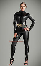 Gothic Black Metallic  Catsuit & Body suit Jumpsuit  Halloween Costume Zipper