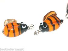 1pc small Glass Bumble Bee dangle pendant Lampwork bug bead bracelet charm NEW