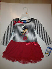 BRAND NEW DISNEY STRIPE MINNIE MOUSE BLK/WHT/RED DRESS.. SIZE 3T .NWT .ADORABLE