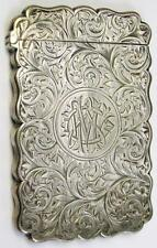 1891 Birmingham English Sterling Silver Card Case Engraved by Frederick Marson