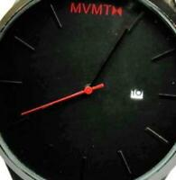 Red Black Face WR 3atm Date Brown Leather Band New Batt Run NWOT Men Watch MVMTH