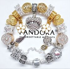 "Authentic Pandora Bracelet With Silver ""My Girl"" & Gold Love European Charms.NIB"