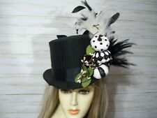 Black Top Hat with Sparkly Black and White Pumpkins Halloween Top Hat Fall Hat