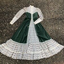 Vintage 70s Velvet Maxi Gunne Sax Boho Prairie corset Dress Floral Print Size 9