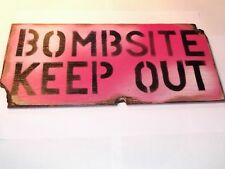 Pink Bombsite Keep Out Wooden Wall/ Door Plaque/ Sign for Children's/ Kids Room