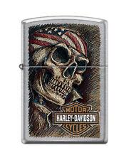 Zippo 4658, Harley Davidson-Skull & Flag, Street Chrome Finish Lighter