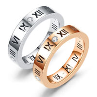 Roman Numeral Ring Silver Platinum Rose Gold Plated Zircon Stainless Steel Band