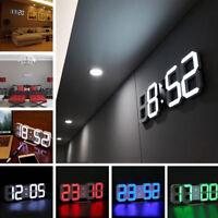 LED Digital Number Wall Clock 3D Display Brightness Alarm Snooze Timer Clock M