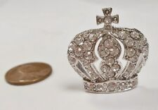 1 Retro Crystal Rhinestone Royal Crown with Cross 28x27mm. Silver Finding E199