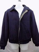Woolrich Navy Blue Virgin Wool Plaid Lining Zip Coat Jacket Men's Large Vintage