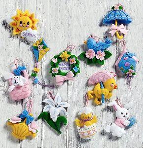 "Bucilla ""MINI EASTER"" Felt 12 Ornaments Kit New OOP"