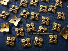 Bead caps 100 pcs antique gold plated 6-8mm filigree 4 leaf design caps fpb206